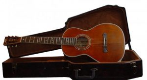 wide washburn parlour guitar and case image